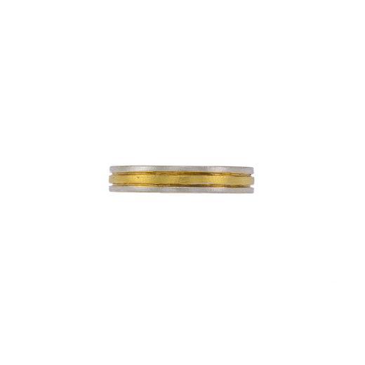 Βέρα διπλή ματ με  λευκόχρυσες εξωτερικές επιφάνειες και  κίτρινη  χρυσή εσωτερικη επιφάνεια  14ΚΤ.     BE002026