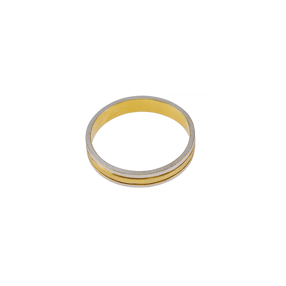 Βέρα διπλή, ματ σε  λευκό και  κίτρινο χρυσό 14ΚΤ.
