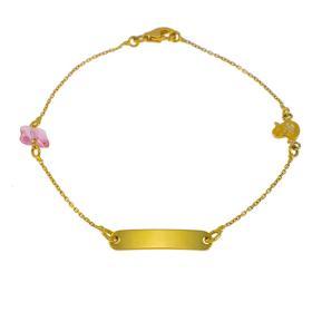 Βραχιόλι ταυτότητα σε κίτρινο  χρυσό  14ΚΤ με παπάκι και μια πεταλούδα .