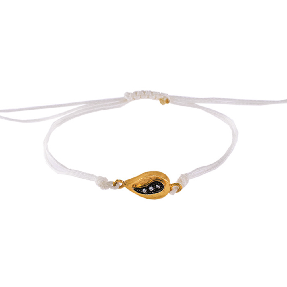 """Βραχιόλι """"GEOMETRIC SHAPE"""" σε κίτρινο χρυσό 14ΚΤ με ζιργκόν σε επιροδιωμένη επιφάνεια"""