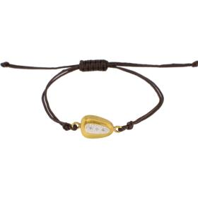 "Bracelet ""GEOMETRIC  SHAPE"" cord with element gold 14kt with zirgon."