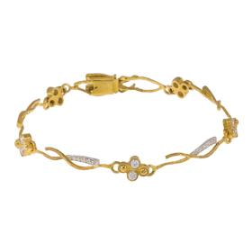 """Βραχιόλι """"LINES"""" σε κίτρινο και λευκό χρυσό 14 ΚΤ με ζιργκόν."""