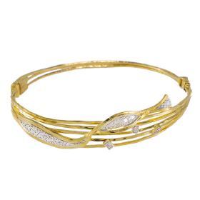 """Βραχιόλι """"RIBBON"""" σε κίτρινο χρυσό 14ΚΤ με ζιργκόν."""
