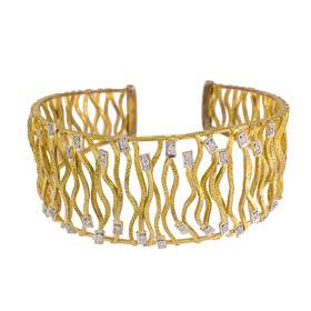 """Βραχιόλι """"LINES"""" σε κίτρινο χρυσό 18ΚΤ με ζιργκόν"""
