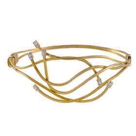 """Βραχιόλι """"WAVES"""" σε κίτρινο  χρυσό 14ΚΤ με ζιργκόν."""