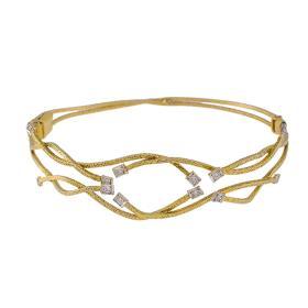 """Βραχιόλι """"LINES"""" σε λευκό χρυσό 14ΚΤ  με ζιργκόν"""