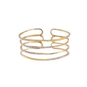 """Βραχιόλι """"LINES"""" σε κίτρινο  χρυσό 14 ΚΤ με ζιργκόν   ."""