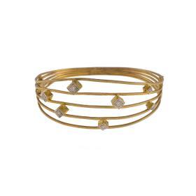"""Βραχιόλι """"LINES"""" σε κίτρινο χρυσό 14 ΚΤ με ζιργκόν."""