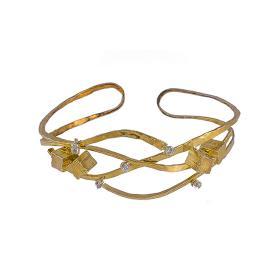 """Βραχιόλι """"CUBES"""" σε κίτρινο  χρυσό 14 ΚΤ με ζιργκόν."""