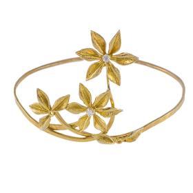 """Βραχιόλι  """"FLOWERS""""  σε κίτρινο  χρυσό 14 ΚΤ  με ζιργκόν"""