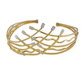 """Βραχιόλι """"LINES""""    σε κίτρινο  χρυσό 14 ΚΤ  με ζιργκόν"""