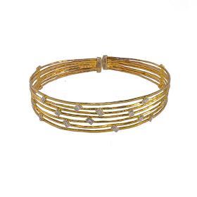 """Βραχιόλι """"LINES"""" σε κίτρινο χρυσό 14ΚΤ με ζιργκόν."""
