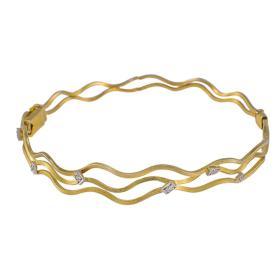 """Βραχιόλι """"WAVES"""" σε κίτρινο χρυσό με ζιργκόν."""