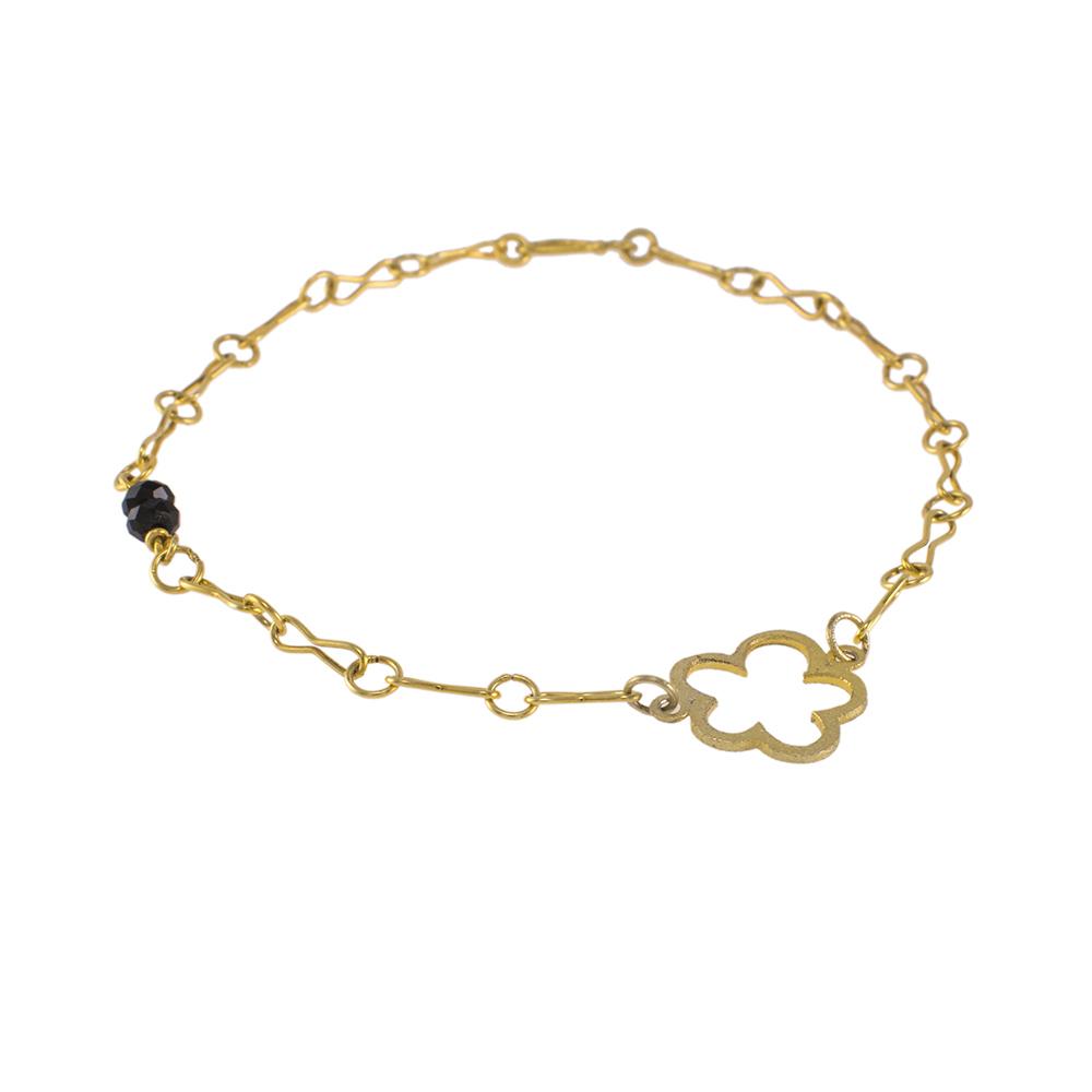 """Βραχιόλι αλυσίδα με στοιχείο """"DAISIES"""" σε κίτρινο χρυσό 14ΚΤ και πολύτιμους λίθους όνυχα."""