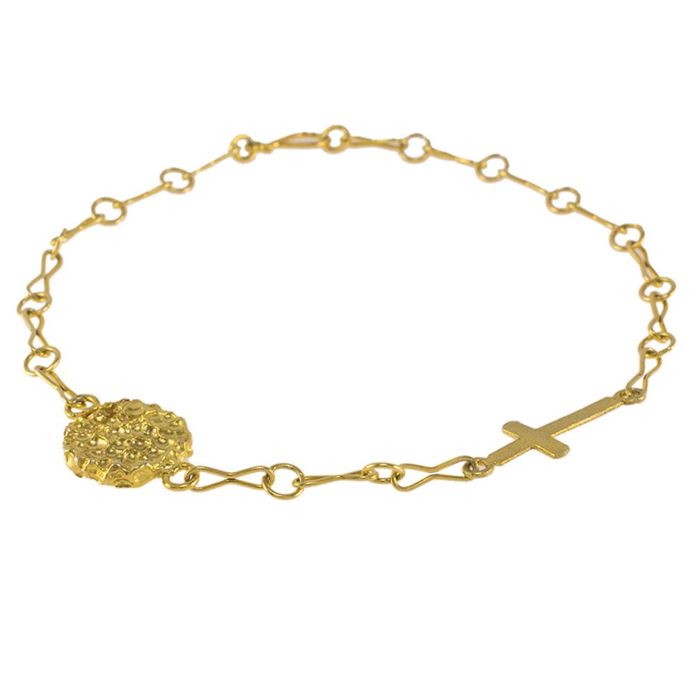 """Βραχιόλι αλυσίδα με στοιχείο """"CROSS"""" και """"LAVA""""σε κίτρινο  χρυσό 14ΚΤ"""