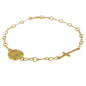"Bracelet  chain with element ""CROSS'' and ""LAVA"" in yellow gold 14kt"