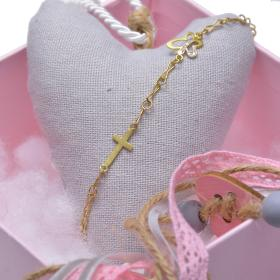 "Bracelet chain with element ""BUTTERFLIES"" and ""CROSE""  in yellow gold 14kt."
