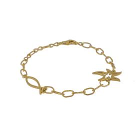 "Bracelet ""FISH & STAR"" chain with elements gold 14kt."