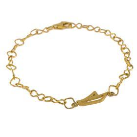 Βραχιόλι αλυσίδα με στοιχείο πλοίο σε κίτρινο  χρυσό 14 ΚΤ    BR005427