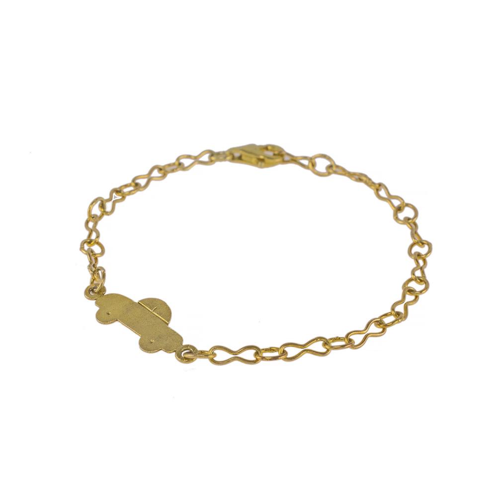 Βραχιόλι αλυσίδα με στοιχείο αυτοκινητάκι σε κίτρινο χρυσό 14ΚΤ