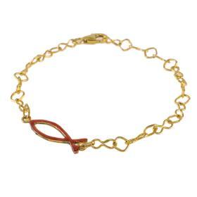 Βραχιόλι με στοιχείο ψάρι σε κίτρινο  χρυσό 14 ΚΤ    BR005429