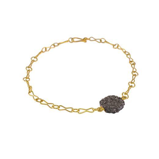 """Βραχιόλι αλυσίδα με στοιχείο """"LAVA"""" σε κίτρινο χρυσό 14ΚΤ"""