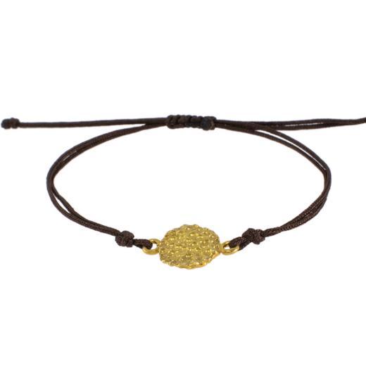 """Βραχιόλι κορδόνι με στοιχείο """"LAVA"""" σε κίτρινο χρυσό 14ΚΤ ."""