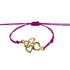"Bracelet cord with ""HEARTS"" gold 14kt."