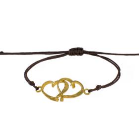 "Bracelet cord with ""HEARTS"" gold 14kt"
