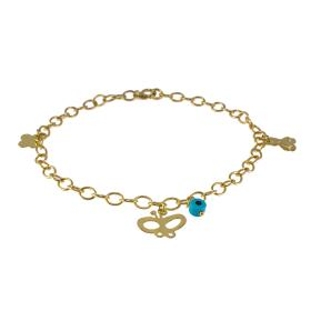 Bracelet gold 14kt with elements and a evil eye.
