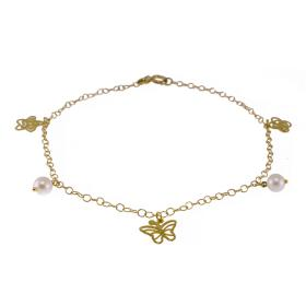 Bracelet gold 14kt  with elements and pearls.