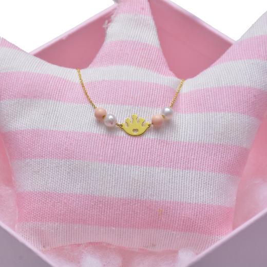 Βραχιόλι σε κίτρινο   χρυσό 14 ΚΤ  .Κορόνα, μαργαριτάρια και ροζ πέτρες .