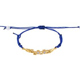 "Bracelet ""CUBES"" cord in yellow gold 14kt with zirgon."