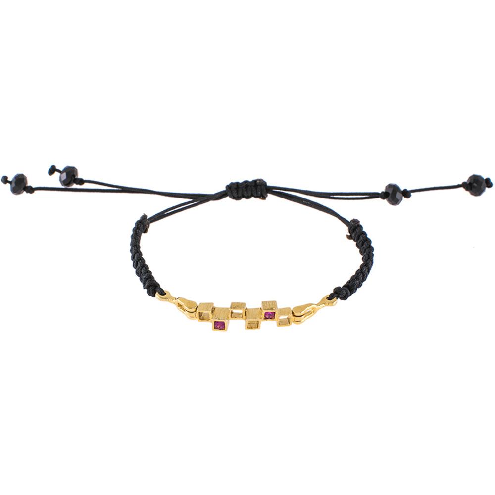 """Βραχιόλι κορδόνι με στοιχείο """"CUBES"""" χρυσό 14ΚΤ με φούξια συνθετικές πέτρες."""