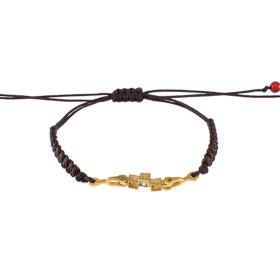 "Bracelet ""CUBES"" cord in yellow  gold 14kt with zirgon"