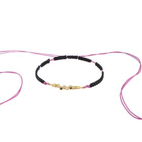 "Bracelet cord gold ""CUBES"" 14kt with black synthetic stones."