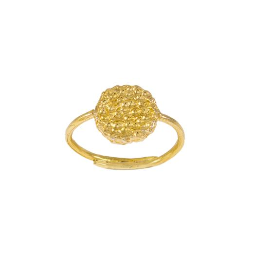"""Δακτυλίδι """"LAVA"""" με οβαλ επιφάνεια σε κίτρινο χρυσό 14ΚΤ ."""