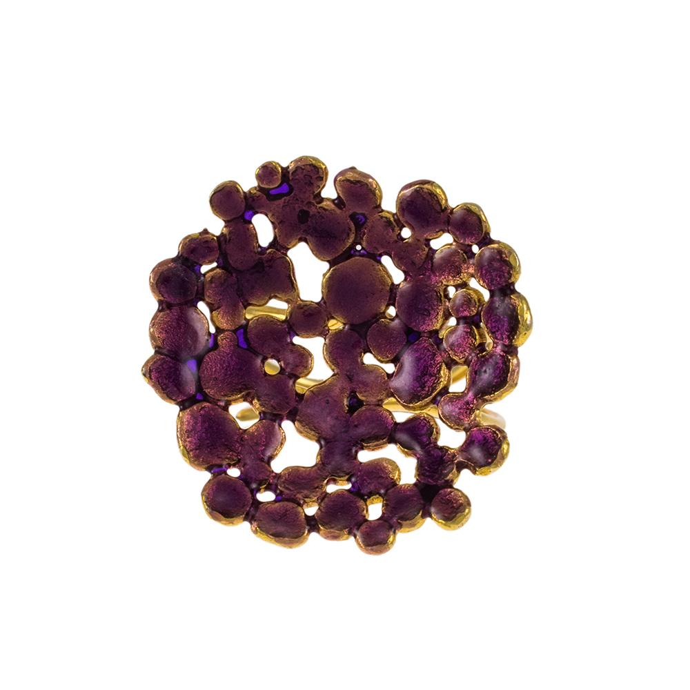 """Δακτυλίδι """"DOTS"""" σε κίτρινο χρυσό 14ΚΤ με σμάλτο."""