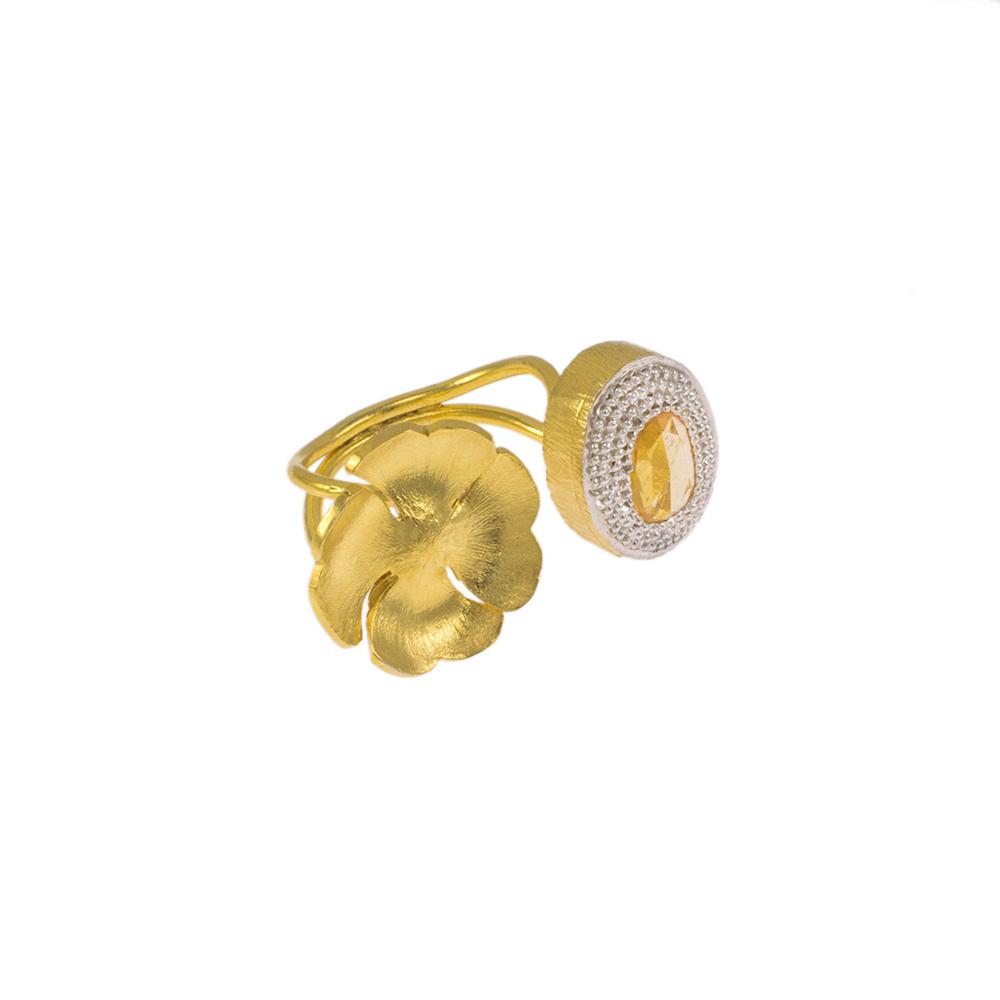Δακτυλίδι σε κίτρινο  χρυσό  14ΚΤ με ζιργκόν και σιτριν