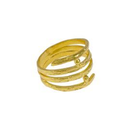 """Δακτυλίδι """"LINES"""" τέσσερις σειρές  σε κίτρινο ματ χρυσό 14ΚΤ ."""