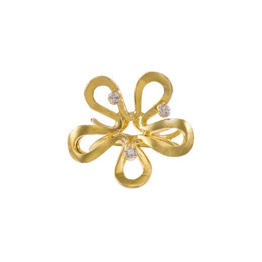 Δακτυλίδι  ''DAISIE'' σε κίτρινο χρυσό 14ΚΤ με ζιργκόν.