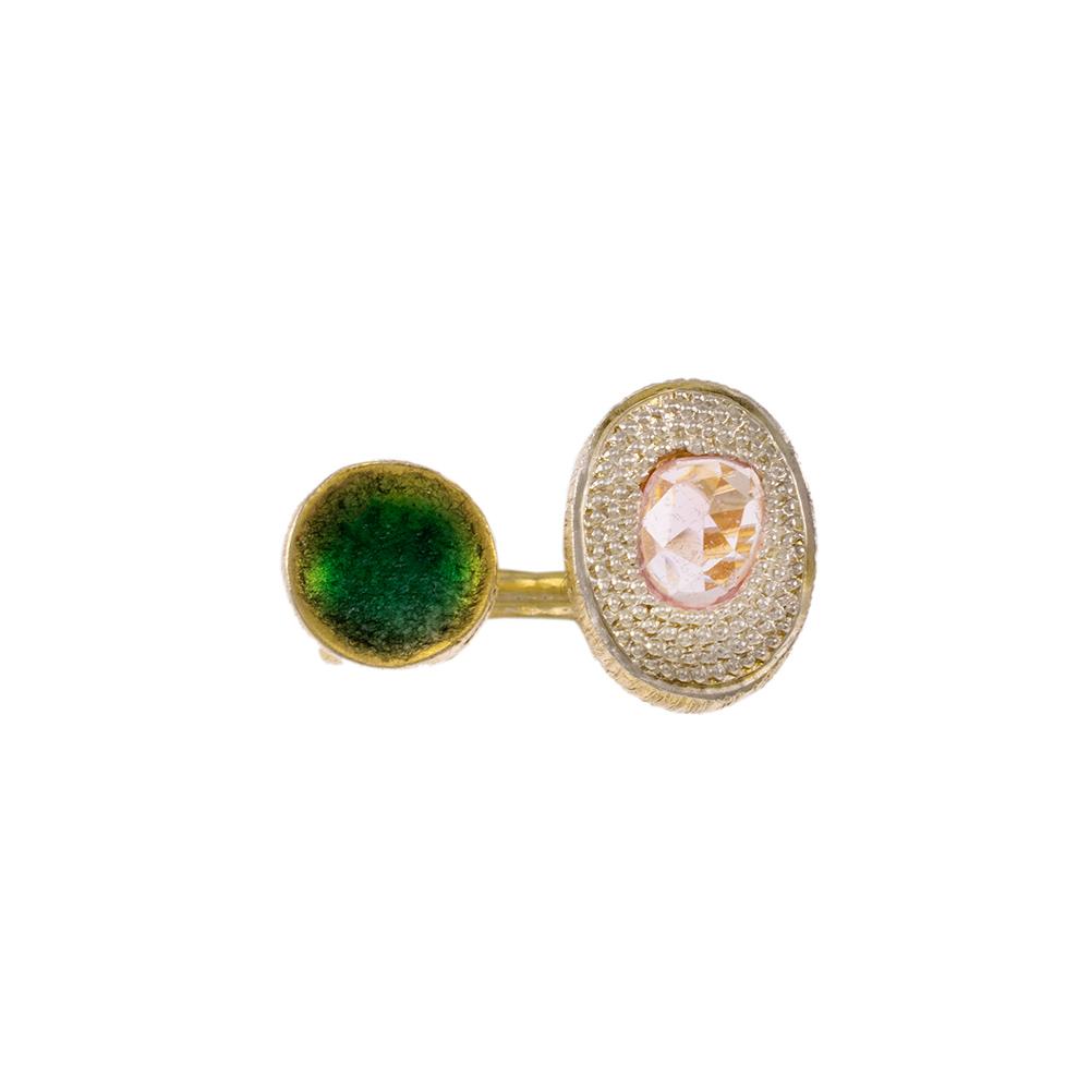 Δακτυλίδι σε κίτρινο χρυσό 14ΚΤ με ζιργκόν και τουρμαλίνη