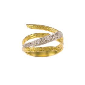 """Δακτυλίδι """"LINES"""" σε κίτρινο χρυσό 14ΚΤ με ζιργκόν.     DA003235"""