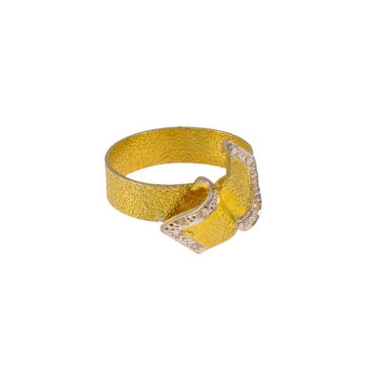 """Δακτυλίδι """"PLAQUES"""" σε κίτρινο χρυσό 14ΚΤ με ζιργκόν."""