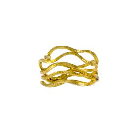 """Ring """"WAVES""""  in yellow gold  14kt  with zirgon."""