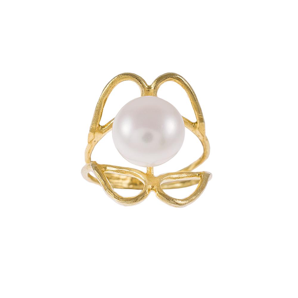 """Δακτυλίδι  """"PEARLS"""" σε κίτρινο χρυσό 14ΚΤ με μαργαριτάρι."""