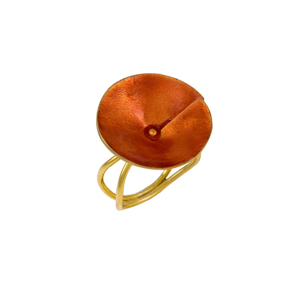 Δακτυλίδι σε κίτρινο χρυσό 14ΚΤ με σμάλτο σε χρώμα κόκκινο