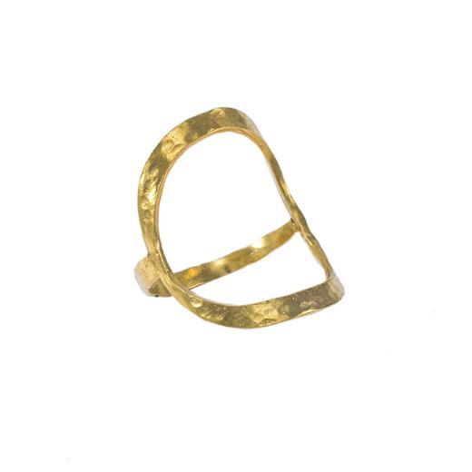 """Δακτυλίδι """"CYCLE""""σε κίτρινο χρυσό 14ΚΤ με σφυρήλατη επιφάνεια."""