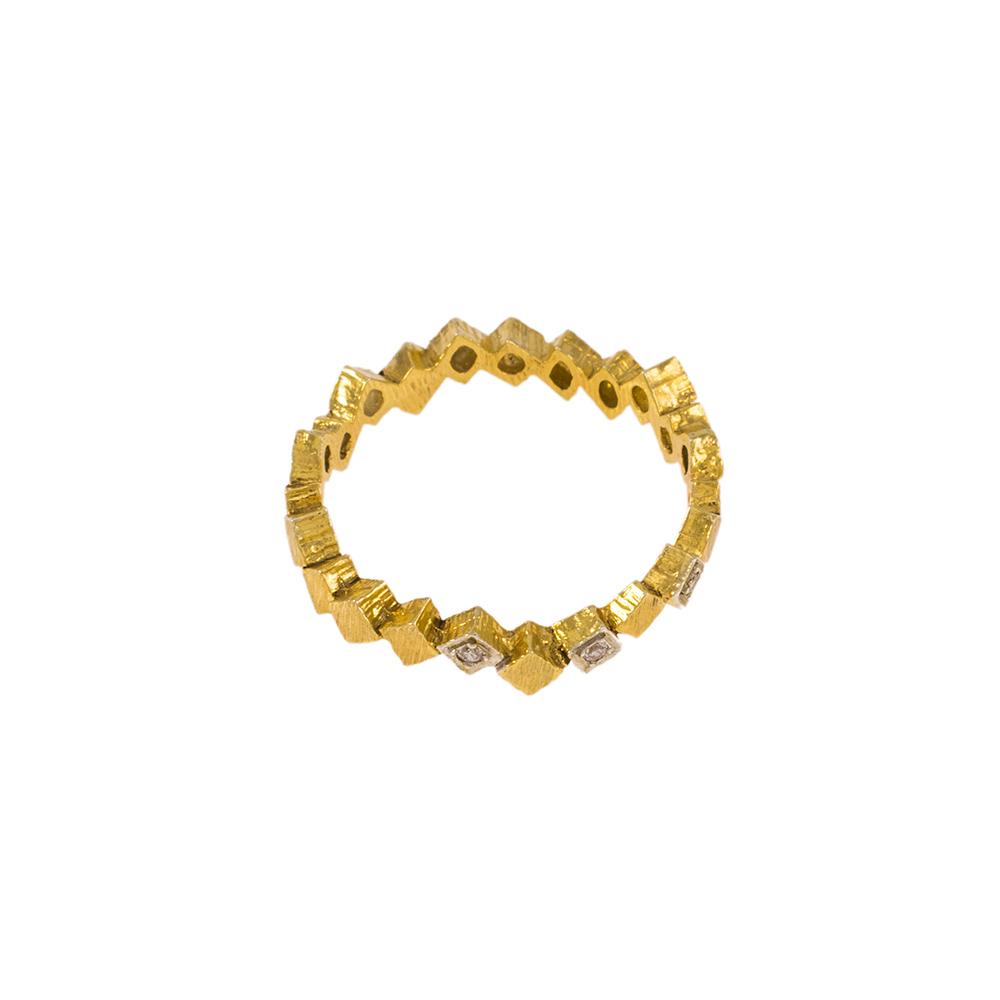 """Δακτυλίδι """"CUBES"""" σε κίτρινο χρυσό 14ΚΤ με ζιργκόν."""