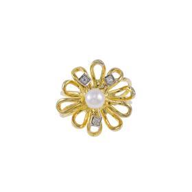 """Δακτυλίδι """"FLOWERS"""" σε κίτρινο χρυσό 14ΚΤ με ζιργκόν και μαργαριτάρι."""